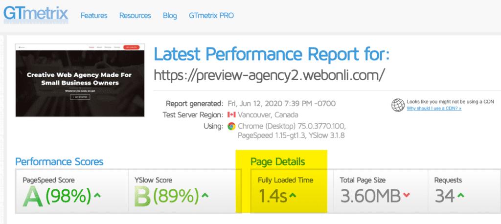 Agency 2 Website Speed