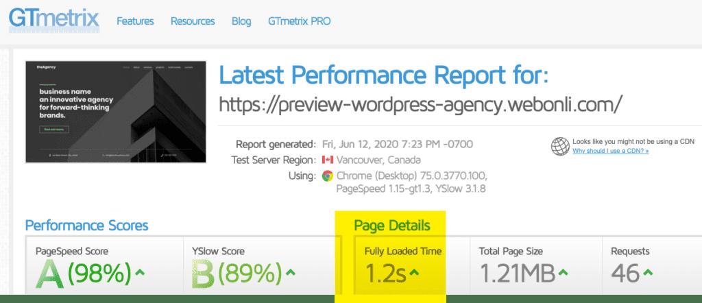 Agency Website Speed
