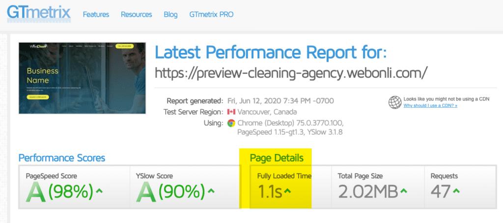 Cleaning Agency Website Speed
