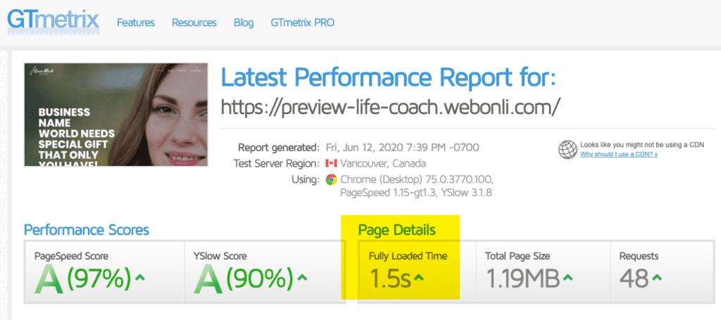 Life Coach Website Speed