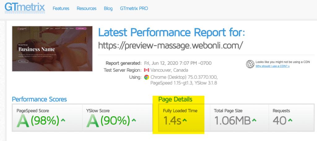 Massage Website Speed