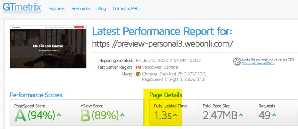 Personal 3 Website Speed
