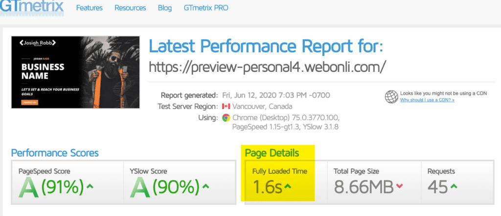 Personal 4 Website Speed