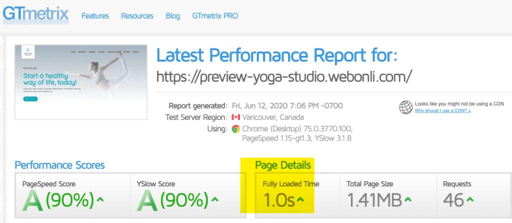 Yoga Website Speed